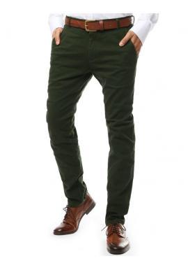 Elegantné pánske nohavice chinos zelenej farby