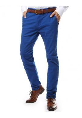 Modré elegantné nohavice chinos pre pánov