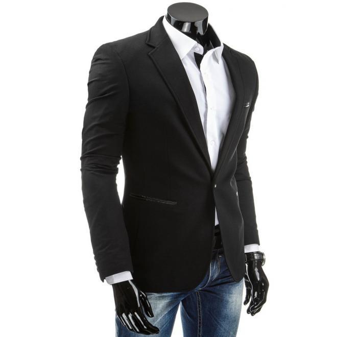 Sako pre pánov v čiernej farbe so záplatami na lakťoch