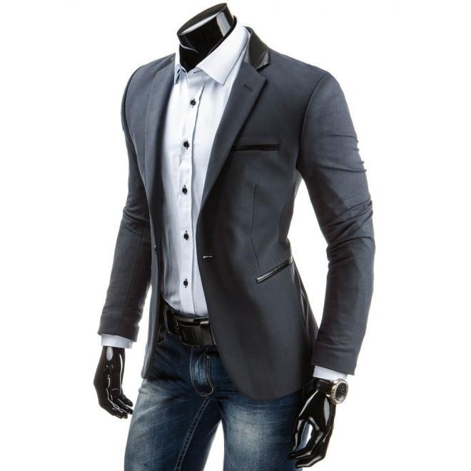 Pánske elegantné sako v čiernej farbe so záplatami