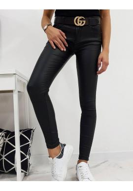 Dámske voskované nohavice v čiernej farbe