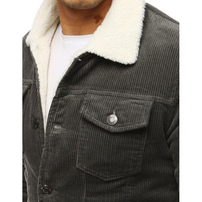 Pánska prechodná bunda s kožušinou v tmavosivej farbe