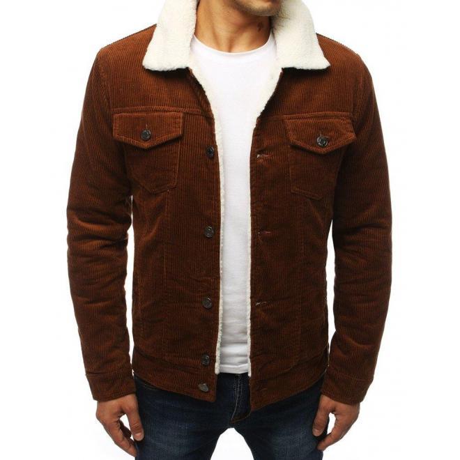 Hnedá prechodná bunda s kožušinou pre pánov