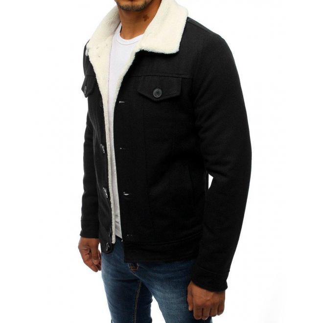 Vlnená pánska bunda čiernej farby s kožušinou