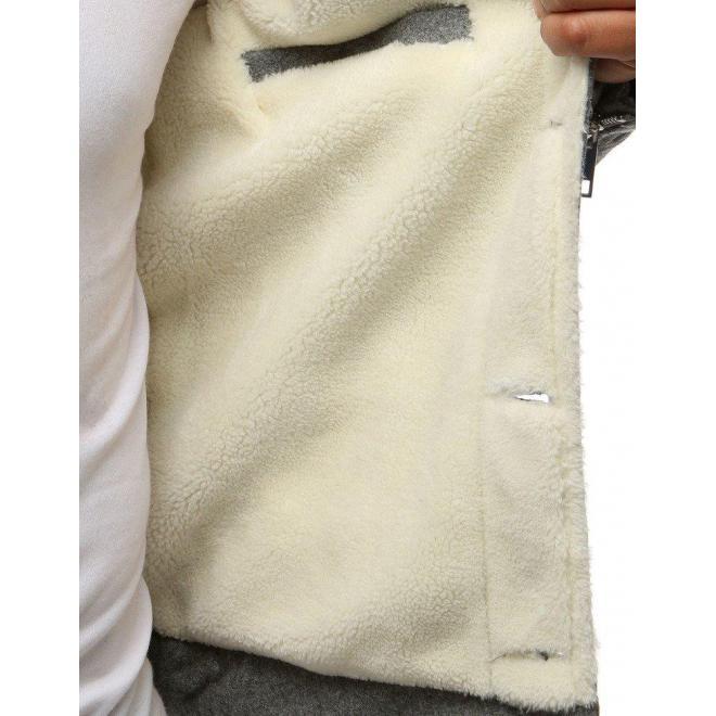 Sivá vlnená bunda s kožušinou pre pánov