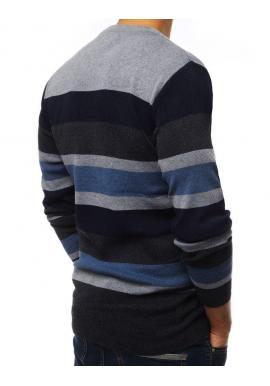 Pánsky pásikavý sveter s okrúhlym výstrihom v svetlosivej farbe