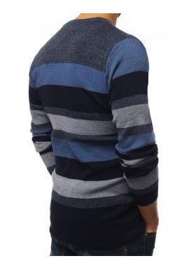 Pásikavý pánsky sveter tmavomodrej farby s okrúhlym výstrihom