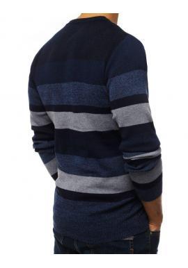 Tmavomodrý pásikavý sveter s okrúhlym výstrihom pre pánov