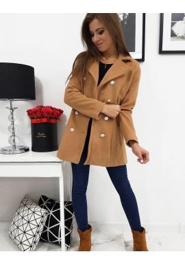Dámsky dvojradový kabát v hnedej farbe