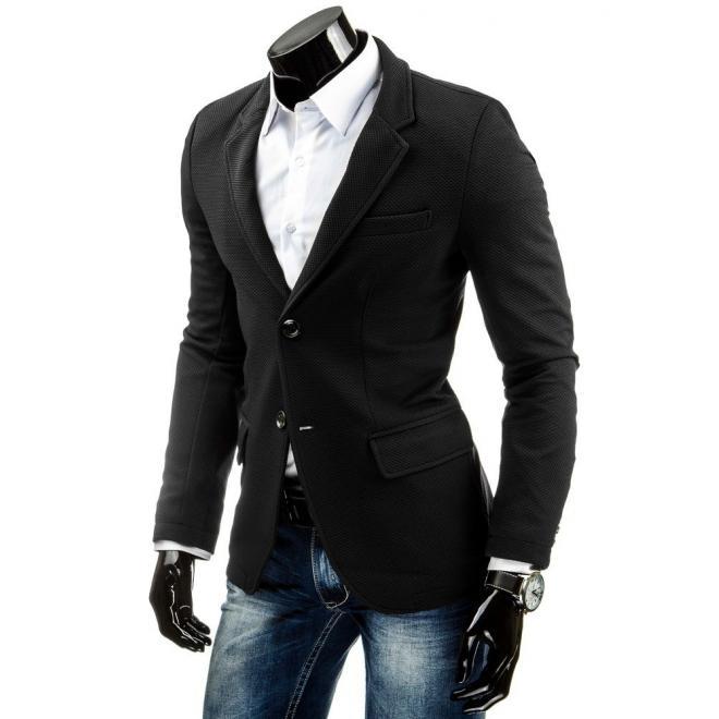 Čierne sako pre pánov so záplatami na lakťoch