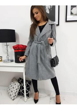 Dámsky elegantný kabát s viazaním v svetlosivej farbe
