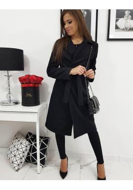 Elegantný dámsky kabát čiernej farby s viazaním