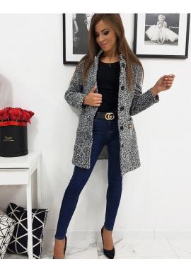 Čierno-biely jednoradový kabát pre dámy