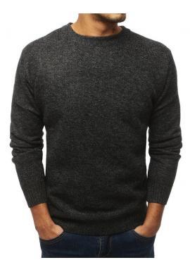 Oteplený pánsky sveter tmavosivej farby