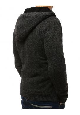 Pánsky teplý sveter s kapucňou v tmavosivej farbe