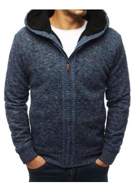 Teplý pánsky sveter modrej farby s kapucňou