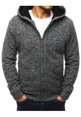Čierny teplý sveter s kapucňou pre pánov
