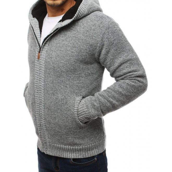 Pánske teplé svetre s kapucňou v svetlosivej farbe