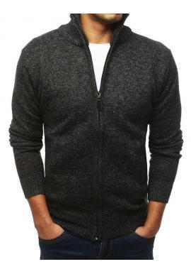 Oteplený pánsky sveter tmavosivej farby s vysokým golierom
