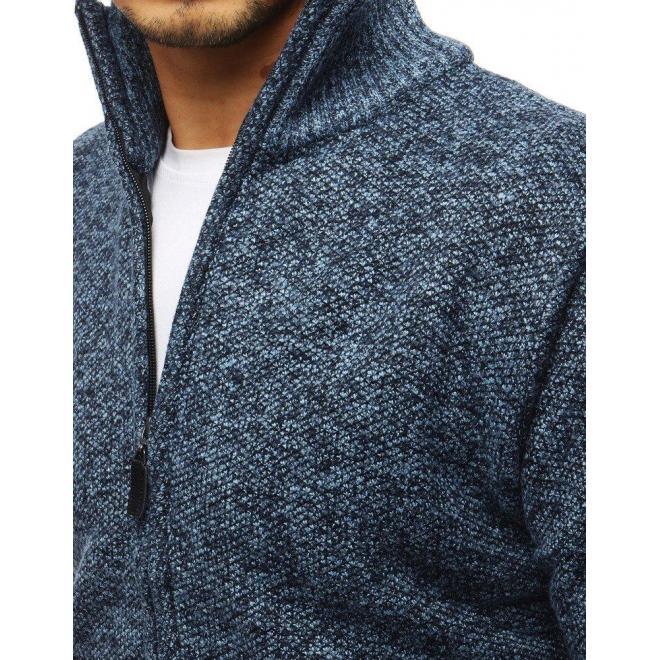 Modrý oteplený sveter s vysokým golierom pre pánov