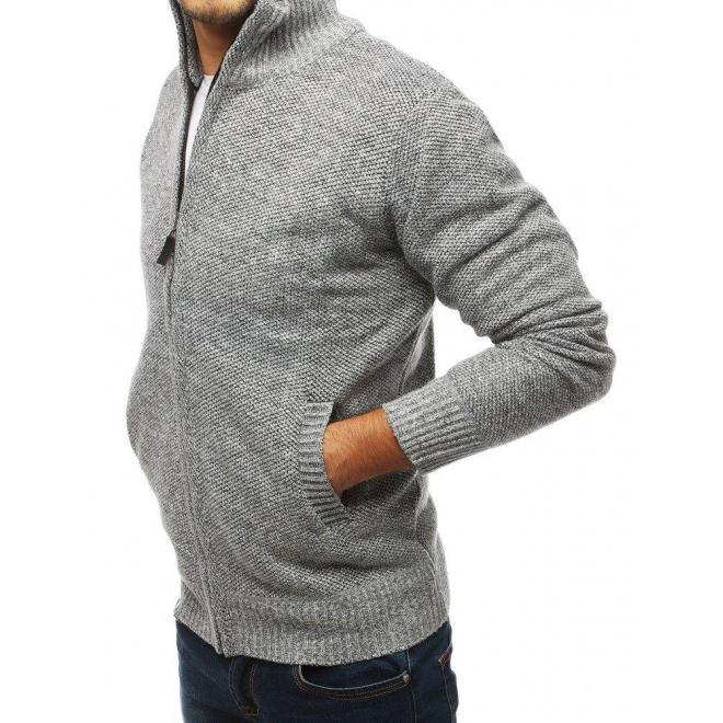 Pánsky oteplený sveter s vysokým golierom v svetlosivej farbe
