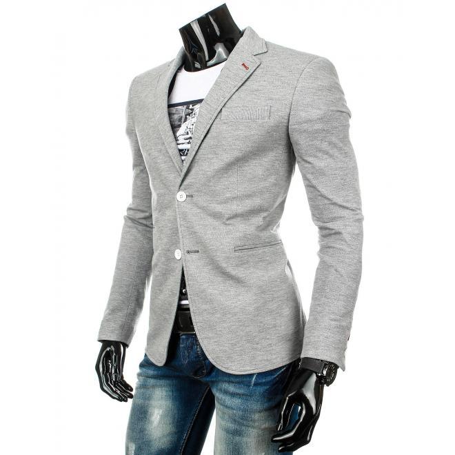 Neformálne pánske sako sivej farby s dvomi gombíkmi