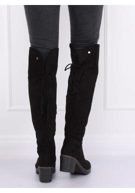 Semišové dámske čižmy nad kolená čiernej farby na gumovom opätku