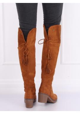Dámske semišové čižmy nad kolená na gumovom opätku v hnedej farbe
