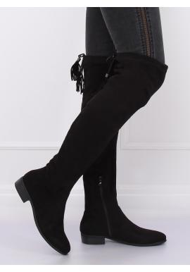 Čierne semišové čižmy nad kolená so strapcami pre dámy