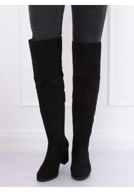 Dámske semišové čižmy nad kolená na podpätku v čiernej farbe