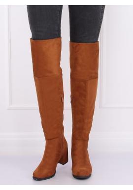 Hnedé semišové čižmy nad kolená na podpätku pre dámy
