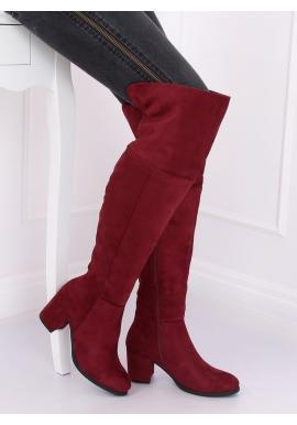 Semišové dámske čižmy nad kolená bordovej farby na podpätku