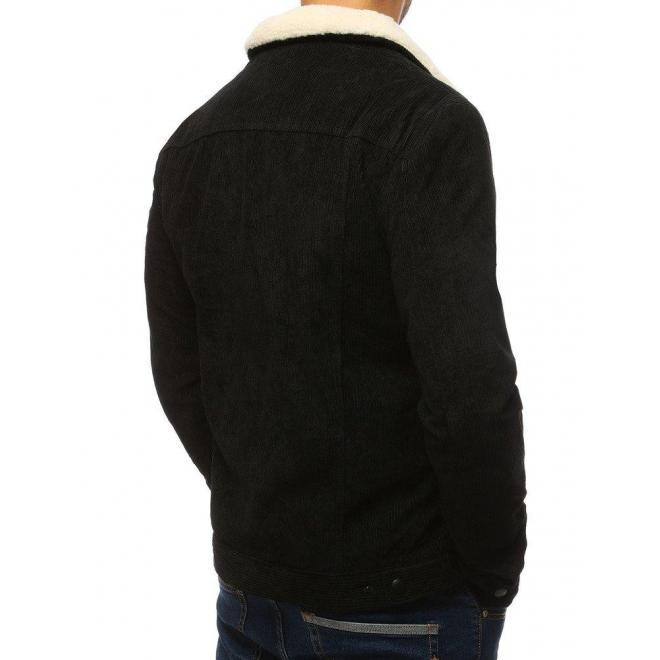 Menčestrová pánska bunda čiernej farby s kožušinou