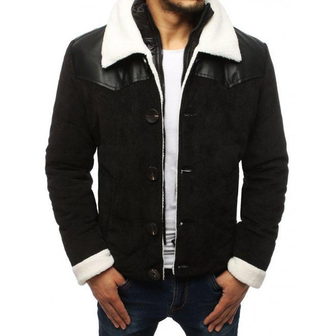 Čierna menčestrová bunda bez kapucne pre pánov