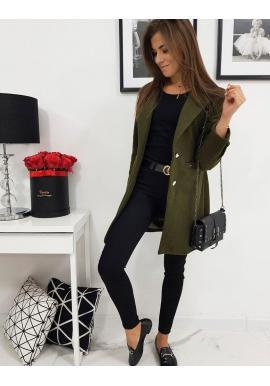 Olivový jednoradový kabát na jar pre dámy