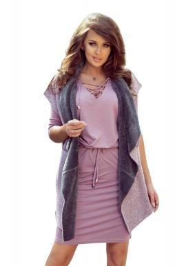 Dámska obojstranná teplá vesta s vreckami v ružovo-sivej farbe