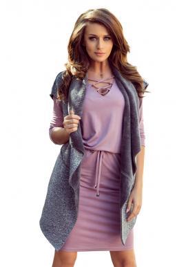 Sivá obojstranná teplá vesta s vreckami pre dámy