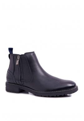 Pánske členkové kožené topánky v čiernej farbe