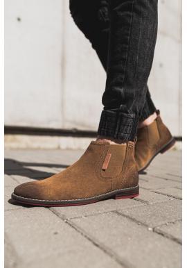 Pánske semišové topánky v hnedej farbe