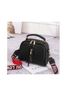 Štýlová dámska kabelka čiernej farby so zipsami