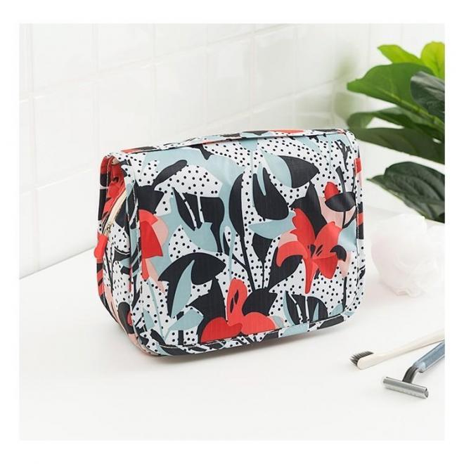 Rozkladacia kozmetická dámska taška s kvetmi
