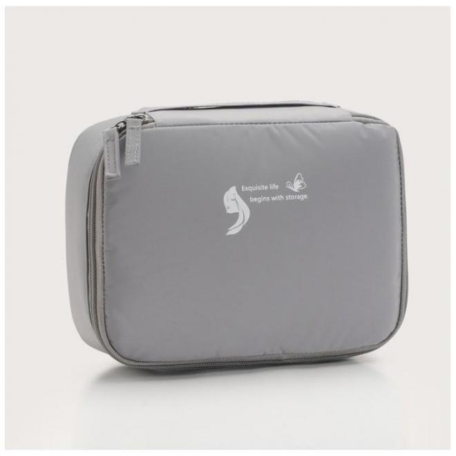 Sivá kozmetická taška pre dámy