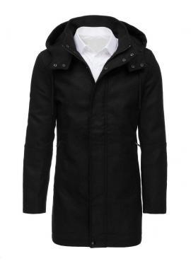 Zimný pánsky kabát čiernej farby s kapucňou