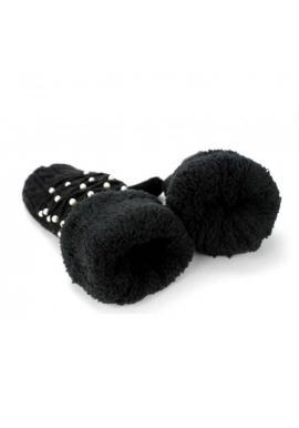 Čierne teplé rukavice s perlami pre dámy
