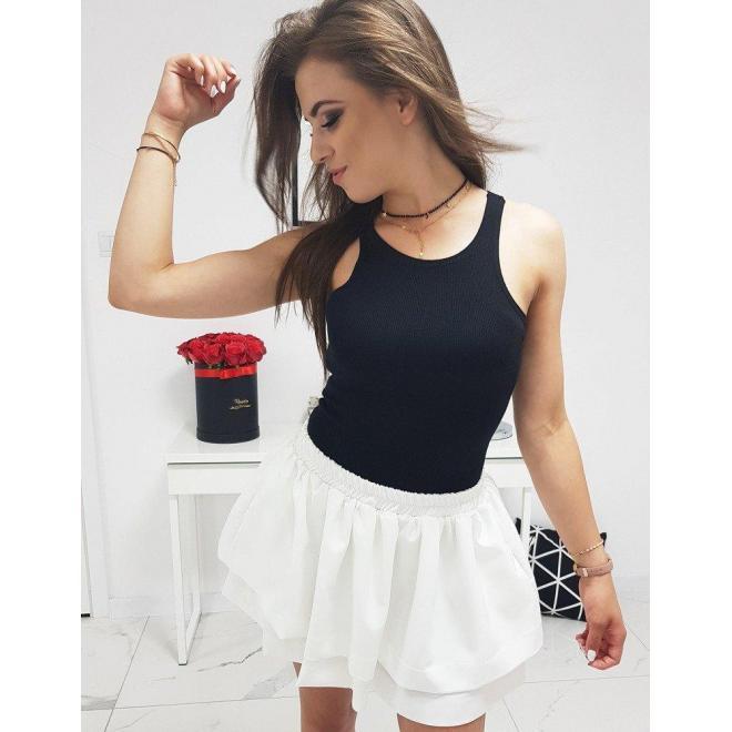 Biela krátka sukňa s volánmi pre dámy