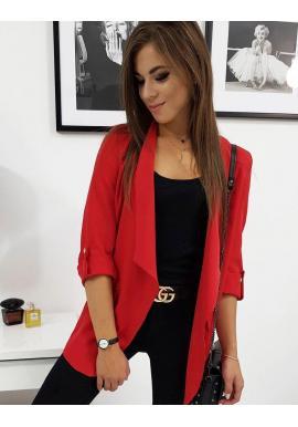 Červené dlhšie sako s dlhým rukávom pre dámy