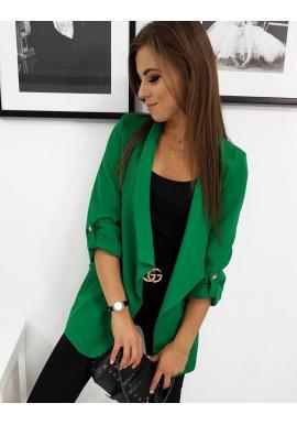 Dámske dlhšie sako s dlhým rukávom v zelenej farbe