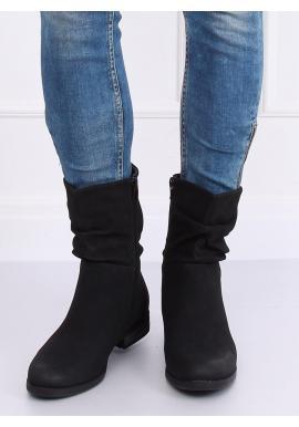 Dámske matné čižmy s nariaseným zvrškom v čiernej farbe