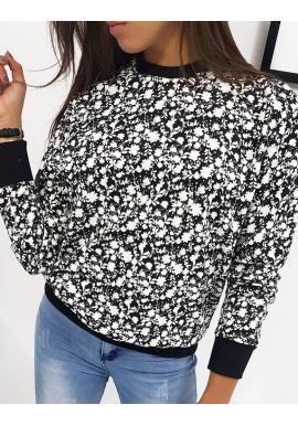 Čierna bavlnená mikina s kvetmi pre dámy