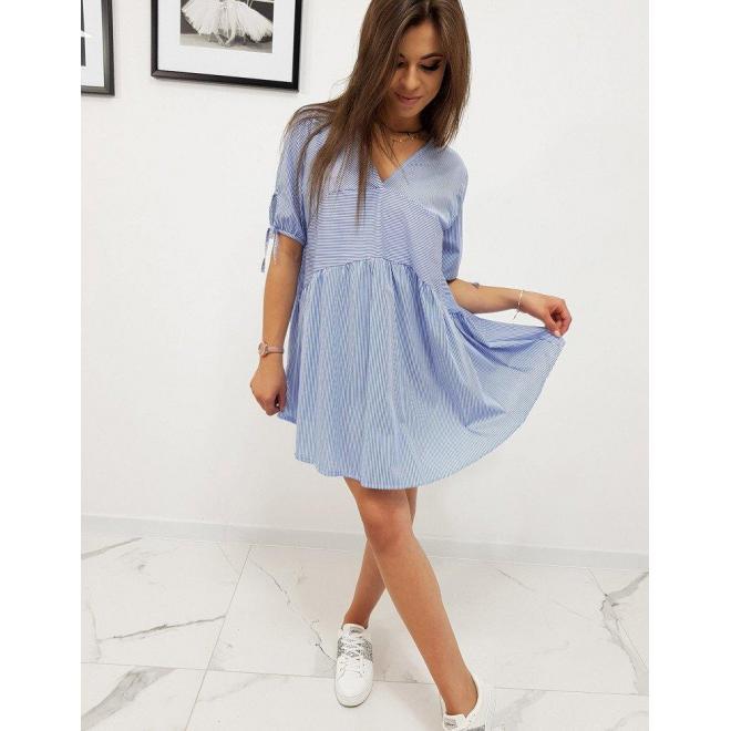 Modré voľné šaty s pásikmi pre dámy